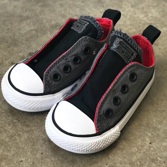 8a854b5e9157 Converse Other - Toddler Converse Velcro Side gray black red size 5